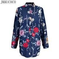 JKKUCOCO женские рубашки прекрасные цветы Печать Модная рубашка свободная Хлопковая женская рубашка, блузка рубашки больших размеров тонкий с
