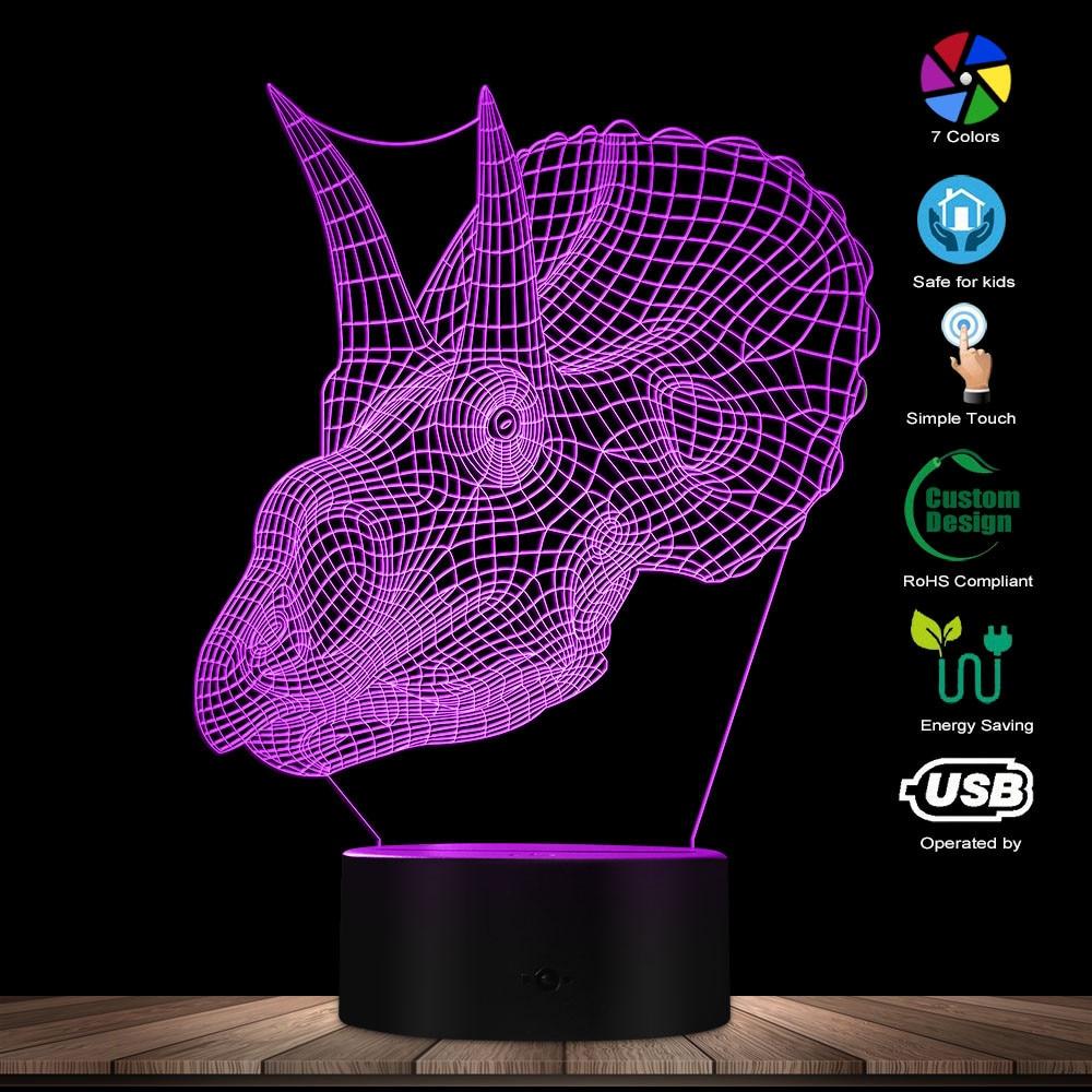Gothic Dragon Skull 3D Optical Illusion Night Light Dragon Head LED Light Desk Lamp Goth Lighting Decoration Dragon Gift For Him