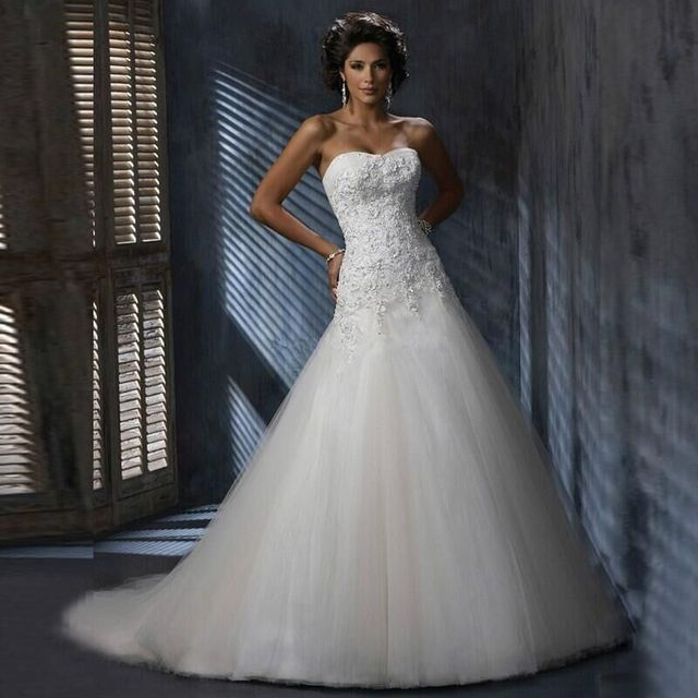 Strapless Tulle Sweetheart Lace Appliques wedding dresses tulle vestidos de novia Wedding Gowns