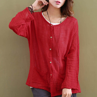 Solid Red White Linen Women Blouses Shirt Long Sleeve Summer Causal Loose Plus Size Shirt Chinese