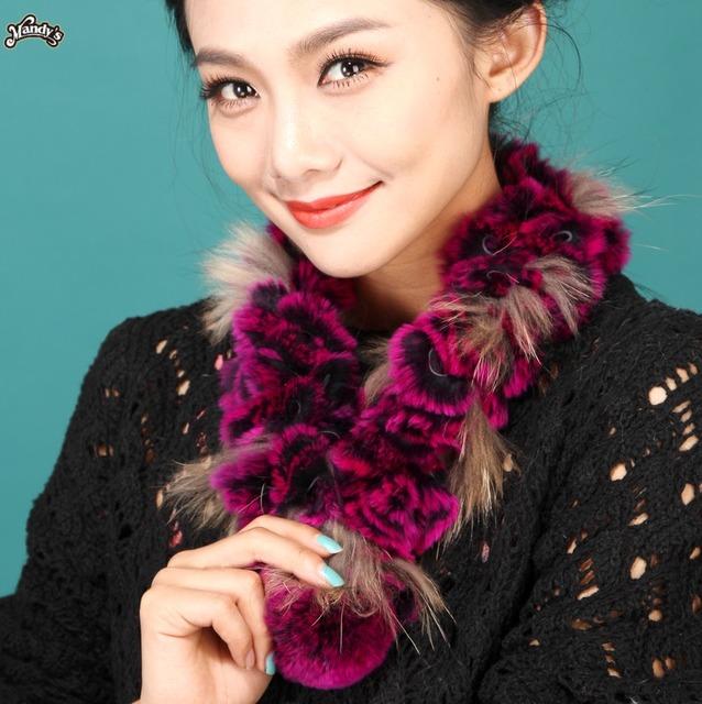 Fêmea rex coelho cabelo cachecol de pele cachecol pingentes Diy women'fashion outono inverno térmica cachecol cachecol