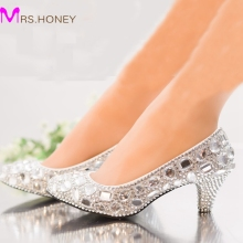Silver Rhinestone Middle Heel Wedding Shoes Sapatos Femininos Women Party Prom Shoes Valentine Crystal Pumps Bridesmaid Shoes