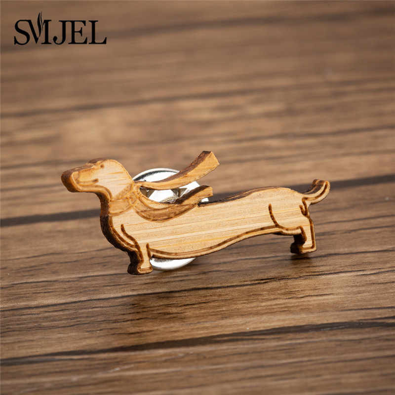 SMJEL עץ תחש סיכות לנשים גברים צווארון פין קלאסי חמוד בעלי החיים כלב צעיף סיכת אמייל נשי תכשיטי רעיון מתנות