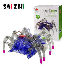 Saizhi DIY kids Science Experiment Electric Science Model Kits physics technology toys Spider Robot STEM Educational toys SZ3398(China)