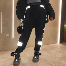 SEXELANLAN High Waist Loose Reflective Hip Hop Sweatpants Autumn Winter Women Club