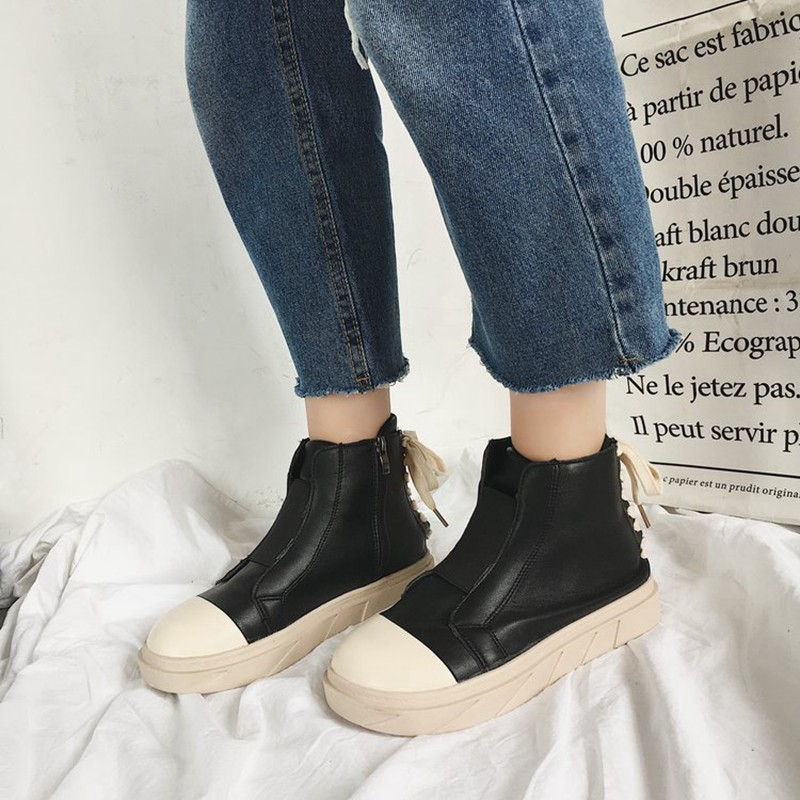 COOTELILI Autumn Women Ankle Boots For Women Girls Boots Fashion Autumn Brand Sneakers Black White Rubber Shoes Women 35-39 (2)