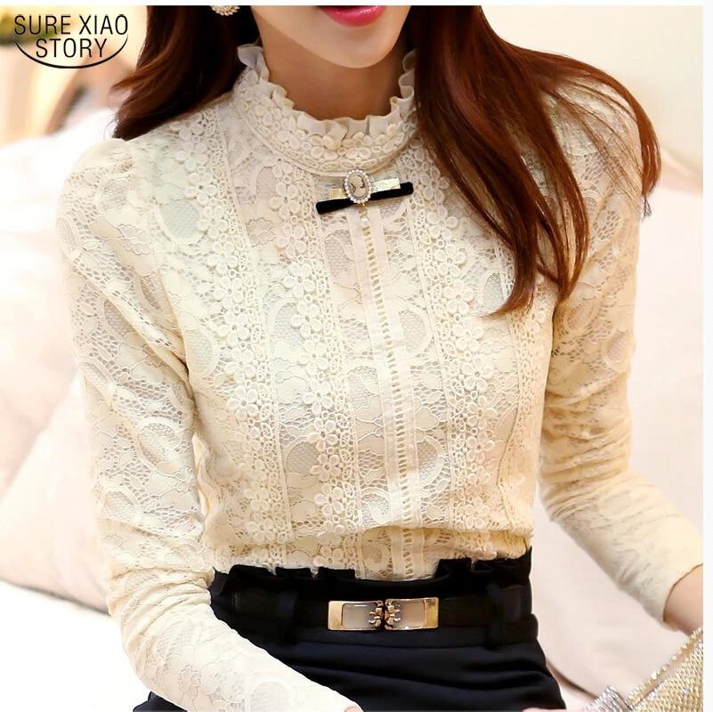 Nuovo 2017 donne Calde top Abbigliamento Donna moda Blusas Femininas Bluse e Camicie In Pile camicia Donna Camicetta Crochet Lace Shirt 999