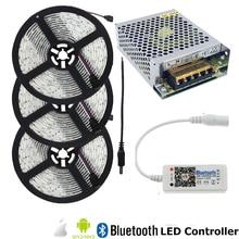 RGB LED Tape Light IP65 Waterproof LED Strip 12V SMD String Ribbon+Bluetooth Controller+LED Power Supply For Outdoor Decoration недорго, оригинальная цена