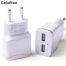 Colohas 3.0A Dual Ports EU Plug Travel Home Charger for Samsung Galaxy S8 S6 S7 Edge Plus S5 S4 Note 4 5 iPhone 8 7 6 AC Charger цена 2017
