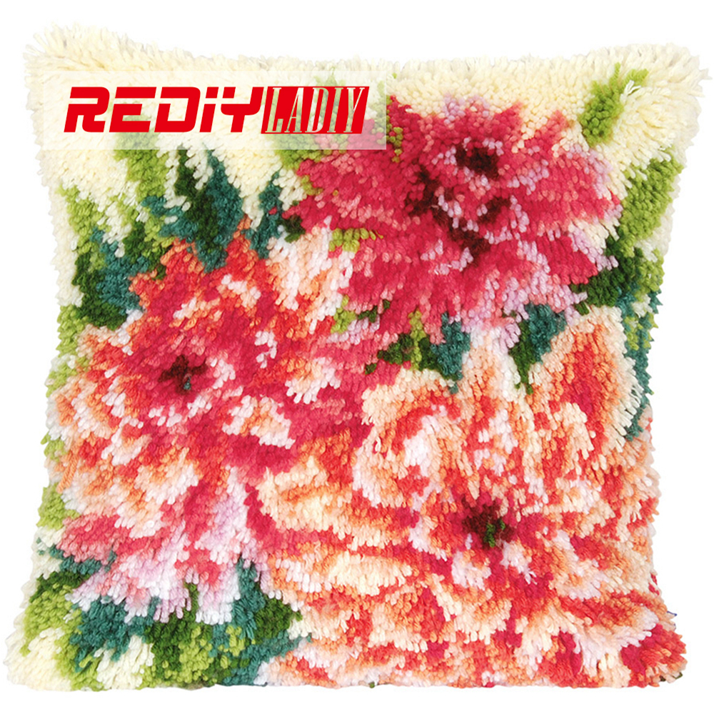 Us 17 8 39 Off Rediy Latch Hook Cushion Kits For Yarn Embroidery Pillow Case Sofa Home Decorative Flowers Pre Printed Canvas Unfinished Bz896 In