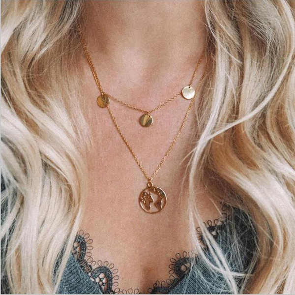 Ltumbe Multi Layer Crystal Moon Pendant Necklaces for Women Vintage Cross Wineglass Charm Choker Necklaces Party Gift Jewelry