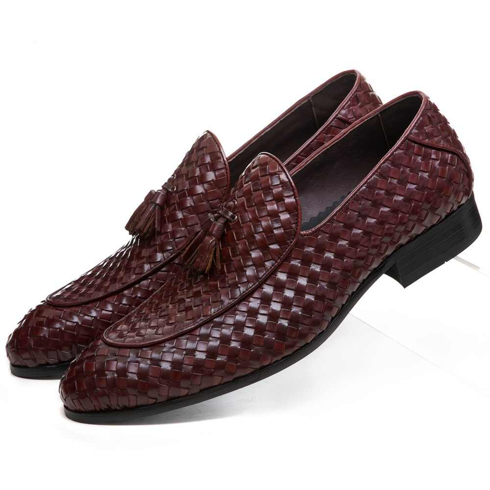 5c40d44b6773 Breathable Brown Tan   Black Woven Design Loafers Summer Mens Wedding Groom  Shoes Genuine Leather Male