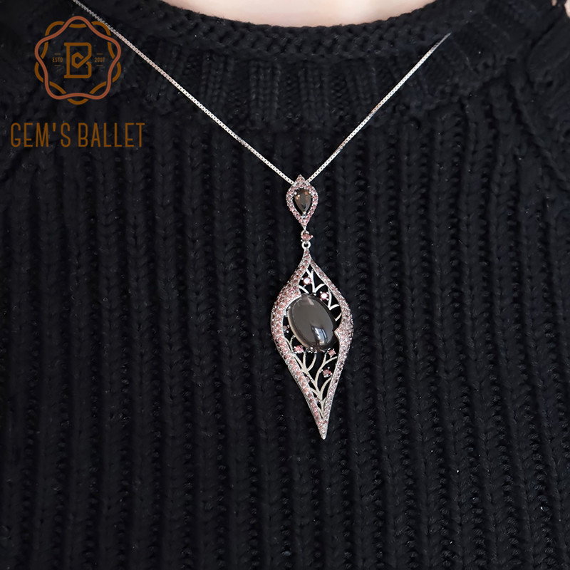 GEM'S BALLET Natural Smoky Quartz Gemstone Vintage Gothic Punk Pendant 100% 925 Sterling Sliver Necklace For Women Party Jewelry