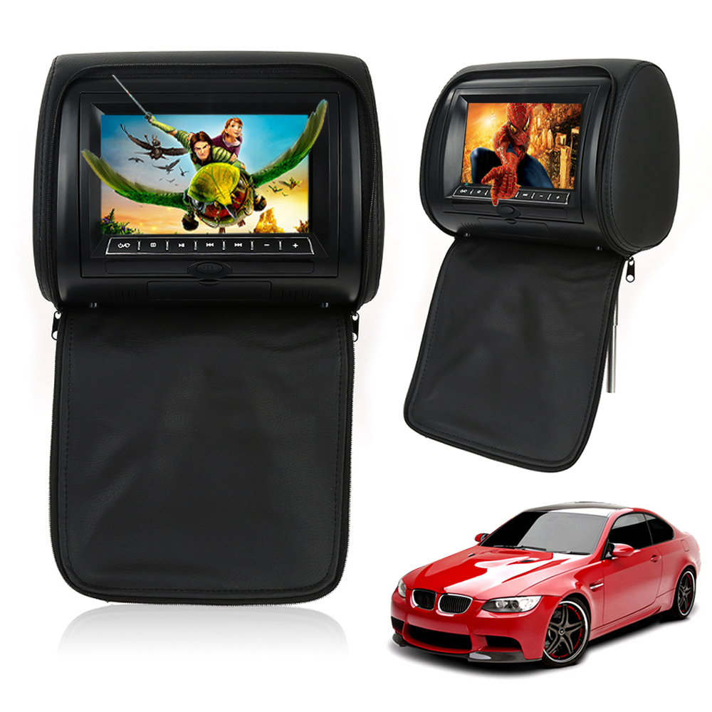 2017 new auto car dvd player suv pvc black 7 inch wide screen headrest dvd player monitor 12v