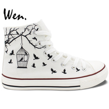 Wen Custom Design Hand Painted White Canvas Shoes Bird Cage Men Women High Top Sneakers Flats Lace Up Gifts Birthday Presents