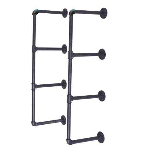 Industrial Retro Bookshelf Black Iron Pipe Wall Mount Shelf Shelving 98cm Height For Home Bathroom Hardware