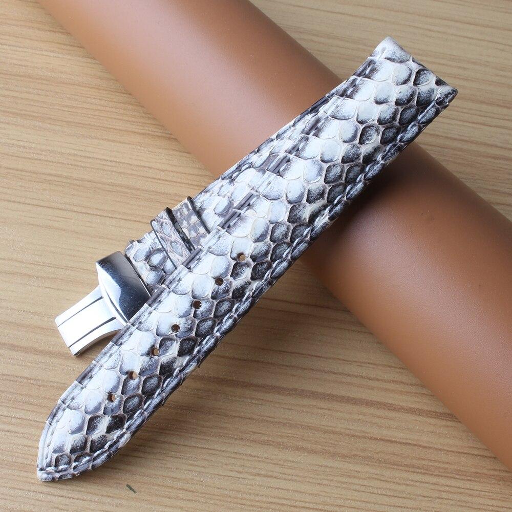 Bracelet spécial en cuir de serpent blanc avec des accessoires de montres de couleur mélangée noire avec boucle en métal argenté 20mm 22mm pour hommes