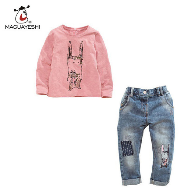 2017 New Spring Baby Children Girls Clothing Sets Cartoon Rabbit Cotton Clothes Long Sleeve T-Shirt+Jeans Sets Suit 12M-4T