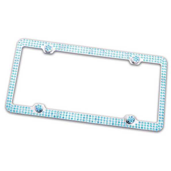 free shipping wholesale fashion custom bling out diamond bling license plate frame for car decor blue