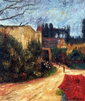 Landscape Canvas Wall Art Pissarro's Garden, Pontoise 1881 Paul Gauguin Oil Paintings Home Decor High Quality