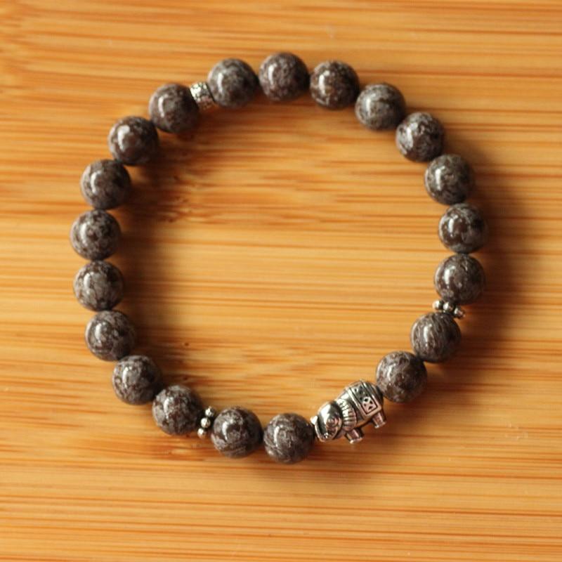 Elephant Bracelet 925 Sterling Silver Casual Stretch Bracelet Natural Stone Accessoires Homme Stone Bracelets