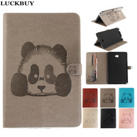 LUCKBUY Floral Embossed Lovely Panda Cases Painted Stand PU Leather Tablet Cover For Samsung Galaxy Tab