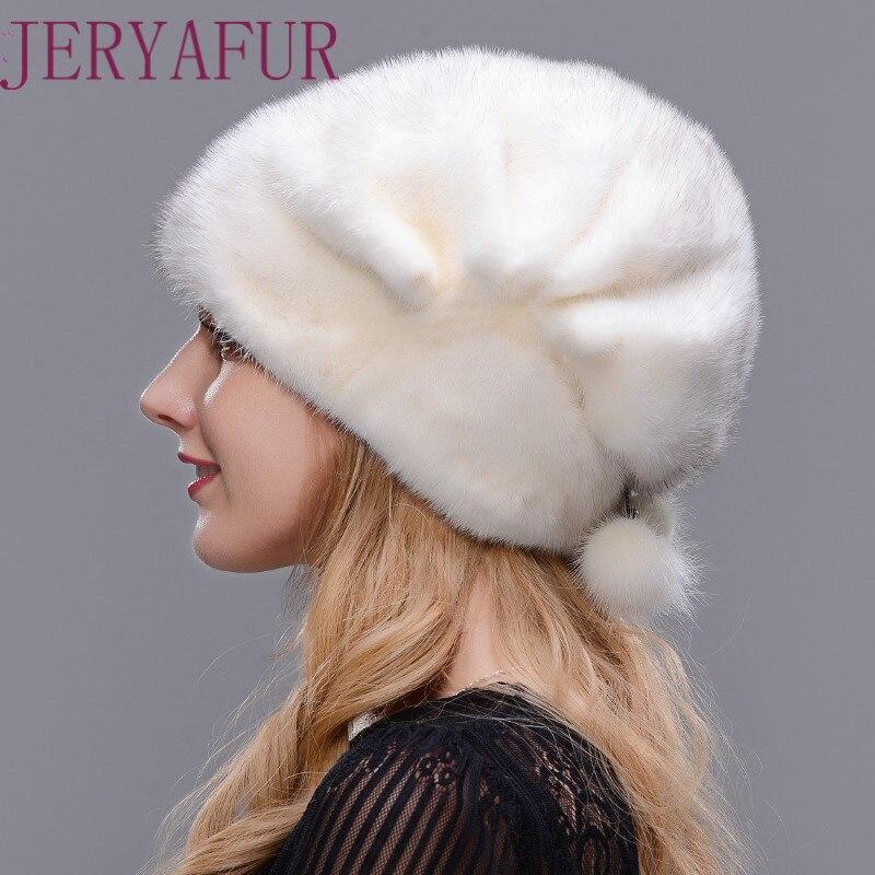 JERYAFUR Для женщин меховая шапка зимняя натуральный один доска норки открытый теплую шапку высокого качества модная шапка свободно регулиров