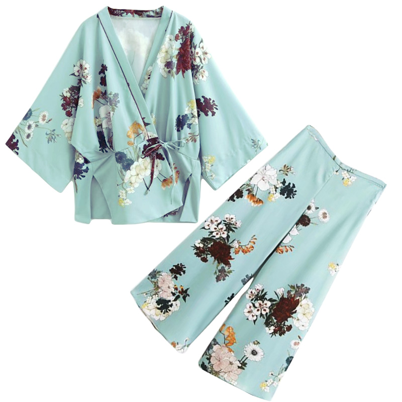 Air Conditioning sun shirt jacket elegant kimono print high waist wide leg pants suit pants TB86