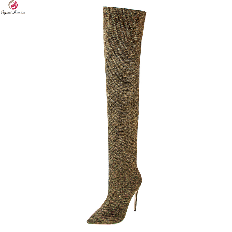 Original Intention Sexy Women Over-the-Knee Boots Nice Pointed Toe Thin High Heels Boots 7 Colors Shoes Woman Plus Size 3-10.5 hot fashion spring over the knee boots sweet buckle denim women boots sexy pointed toe thin high heels shoes woman zapatos mujer