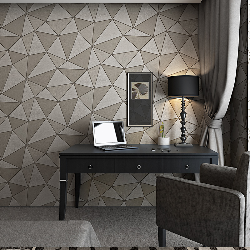 Geometric Metallic Wallpaper 3d Abstract Triangle Modern Faux Leather Wall paper Roll Purple Gold Waterproof faux gem geometric engraved insect ring