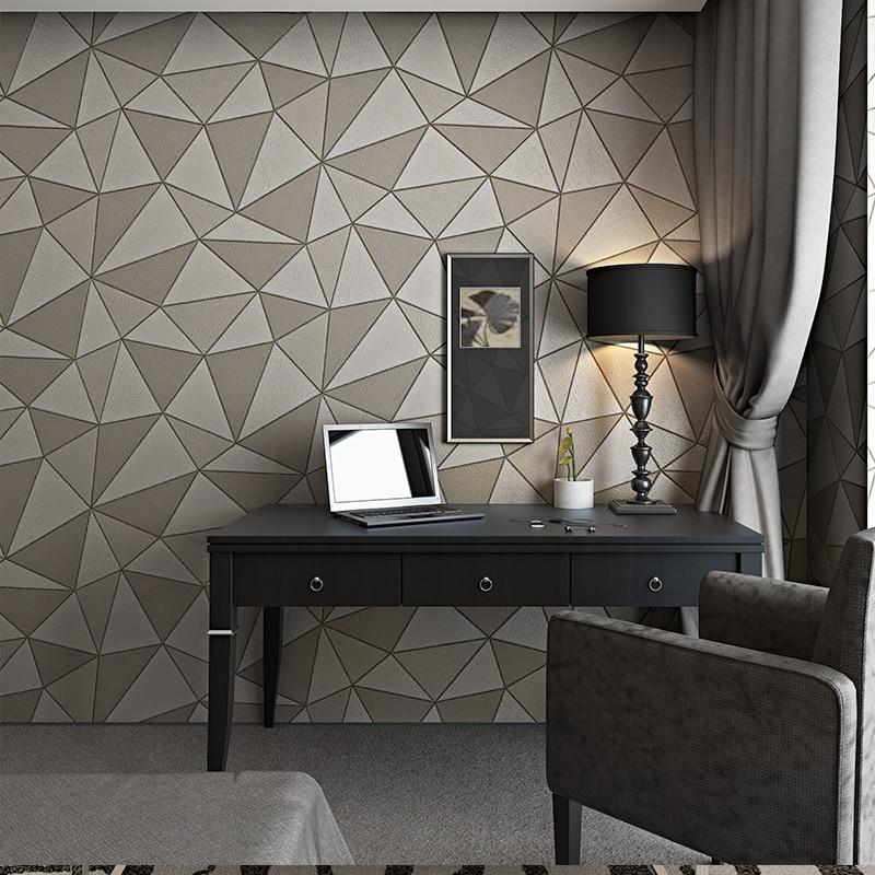Geometric Metallic Wallpaper 3d Abstract Triangle Modern Faux Leather Wall paper Roll Purple Gold Waterproof