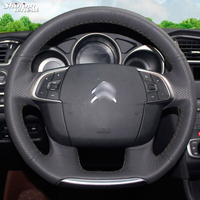 BANNIS Hand stitched Black Leather Car Steering Wheel Cover for Citroen C4 C4L