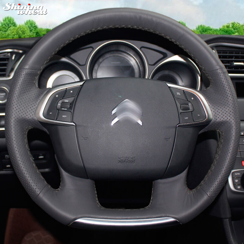 Shining wheat Hand-stitched Black Leather Car Steering Wheel Cover for Citroen C4 C4L shining wheat hand stitched black leather steering wheel cover for peugeot 206 2007 2009 207 citroen c2