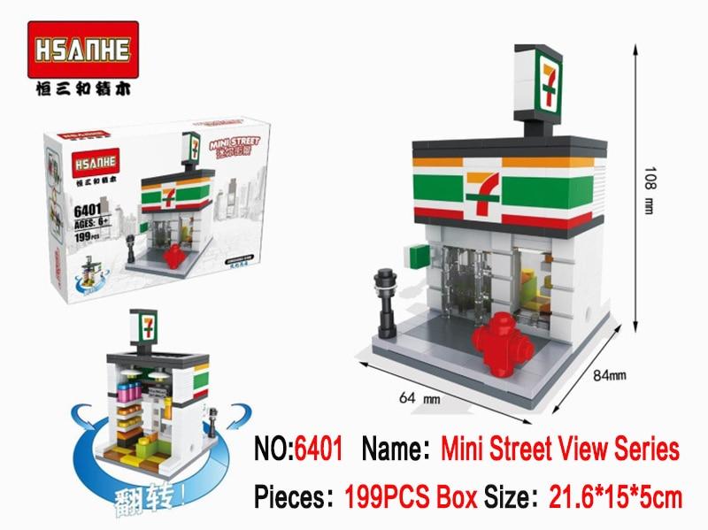 Mini Blocks Brick Building Blocks Toys for Kids Assembly DIY Children Street City shop View Educational 3d Model brock in Blocks from Toys Hobbies