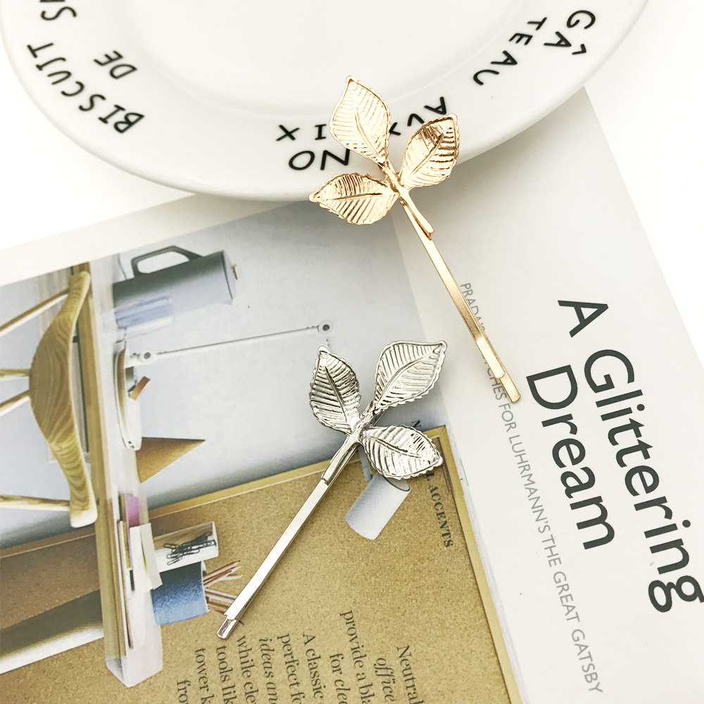 Купить с кэшбэком Gold Silver Metal Hair Clip Creative Scissors Leaves Comb Shapes Hairpin Clamps Hair Decorations Accessories Hair Barrettes