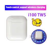 I100 TWS Senza Fili di Bluetooth del Trasduttore Auricolare fone de ouvido di Supporto Wireless di ricarica per iphone/Android PK i10 i20 i30 i50 i60 i80 tws