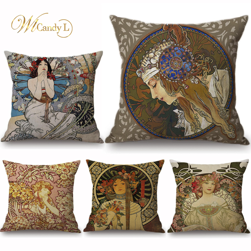 WL Candy L винтажный Европейский Арт Нуво Mucha галерея Чехлы для подушек домашний декоративный красивый узор для девочки льняная наволочка