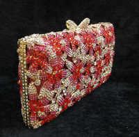 新しい2017ダイヤモンド真珠女性イブニングバッグレッドクリスタルクラッチバッグウェディングブライダルクラッチパーティーディナー財布チェーンハンドバッグ