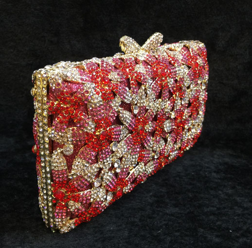 New 2017 Diamonds Pearls Women Evening Bags red crystal Clutch Bag Wedding Bridal Clutches Party Dinner Purse Chains Handbag free shipping new 2017 fashion black white golden diamonds luxury quality mini party dinner bags day clutches evening bag rqr072