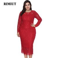 Rimiut Women Big Size Autumn Dress Big Size Elegant Sexy Lace Flower Casual Party Dress 2018 Fashion Big Size 6XL