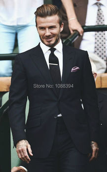 2016 New Men's Suit Style 2 Buttons Peak Lapel Black Wedding Groom Tuxedos For Men Groomsman Best Man Suit Jacket+Pants+Tie