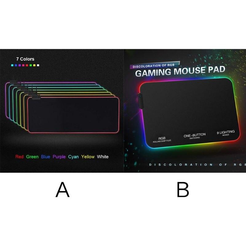 RGB 7 Colorful Luminous Mousepad Gaming LED Lighting Mouse Mat for PC Laptop Desktop font b