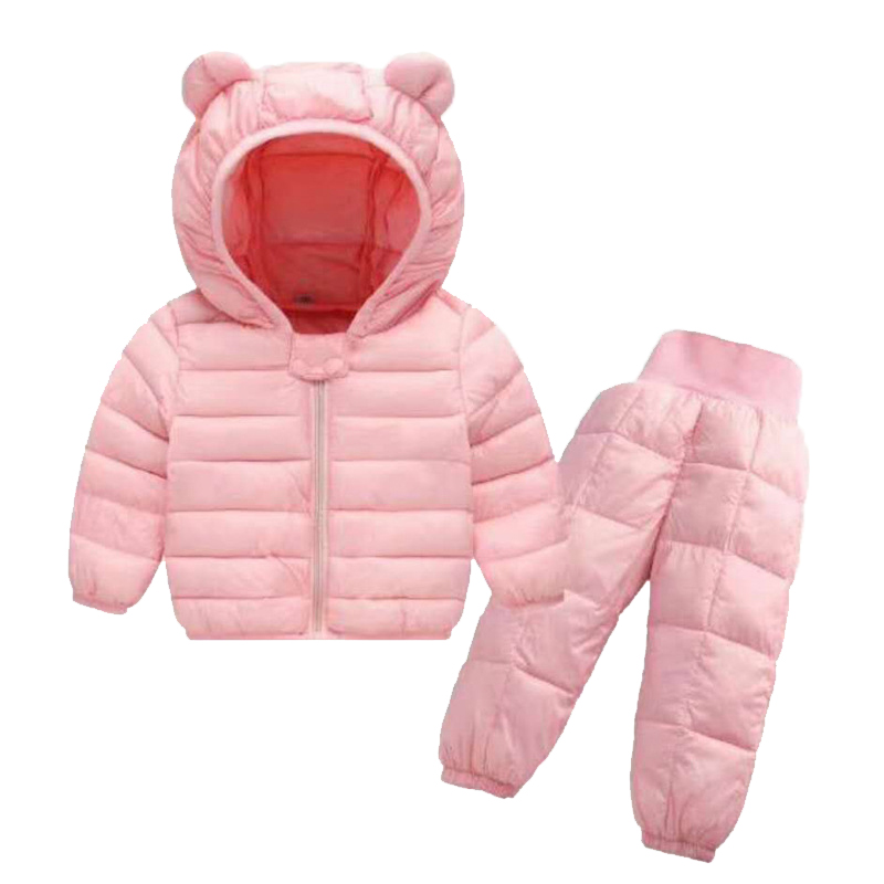 Baby Winter Coat+Pants Set Kids Casual Solid Hooded Down Jacket Overalls Snow Suit Warm Clothes For Children Boys Girls Body winter children baby down jacket set long sleeve down coat pants set boys girls baby winter warm coat trouser suit