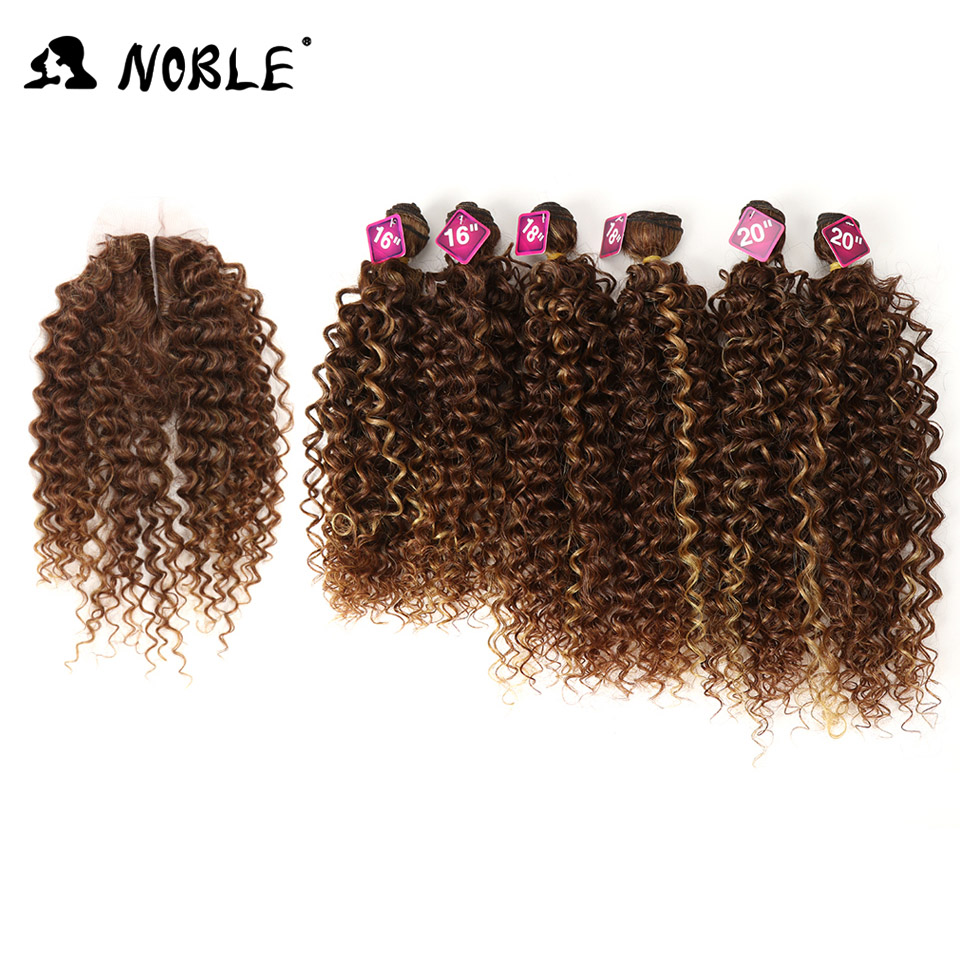 Noble Synthetic Weaving 16 18 20 Kinky Curly Ombre Hair Bundles Natural Black Blonde Color Front Lace Closure Hair For Women