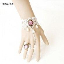 Винтажный кружевной браслет Новые модные свадебные перчатки с розовые стразы Цветы Свадебные перчатки с кольцом BV-023