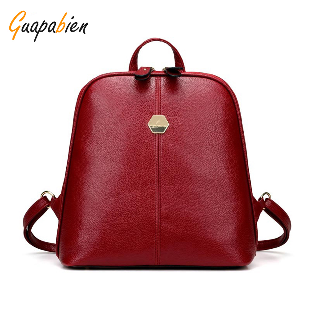 School zipper bag - Guapabien Solid Color Red Zipper School Bag For Teenager Fashion Shell Leather Women Shoulder Backpack Small