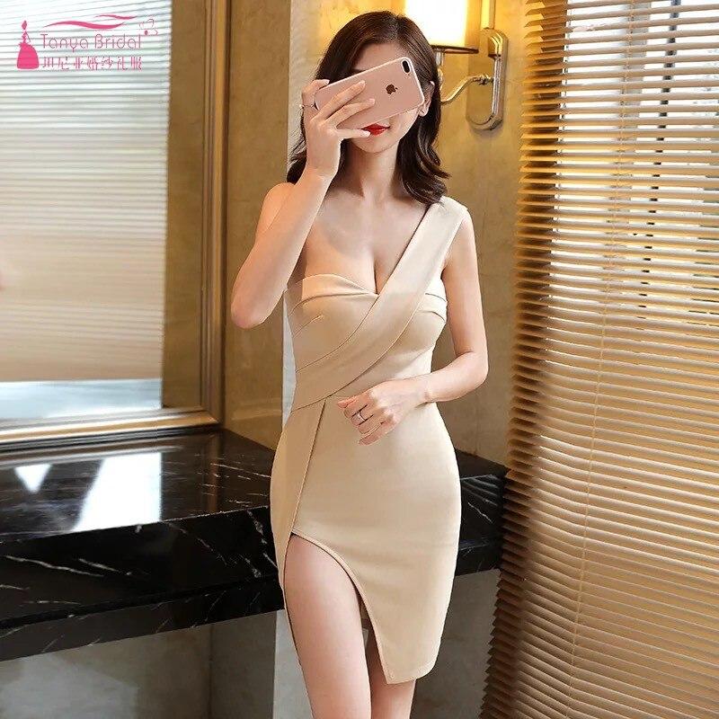 a0c4bc2c15 Sexy prosto na jedno ramię Homecoming suknie 2018 vestidos de graduacion  szczelina formatura suknie vestido curto