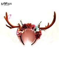 Handmade Gothic Floral Horn Headband Party Festival Christmas Reindeer Antler Headpiece Flowers Headdress Vintage