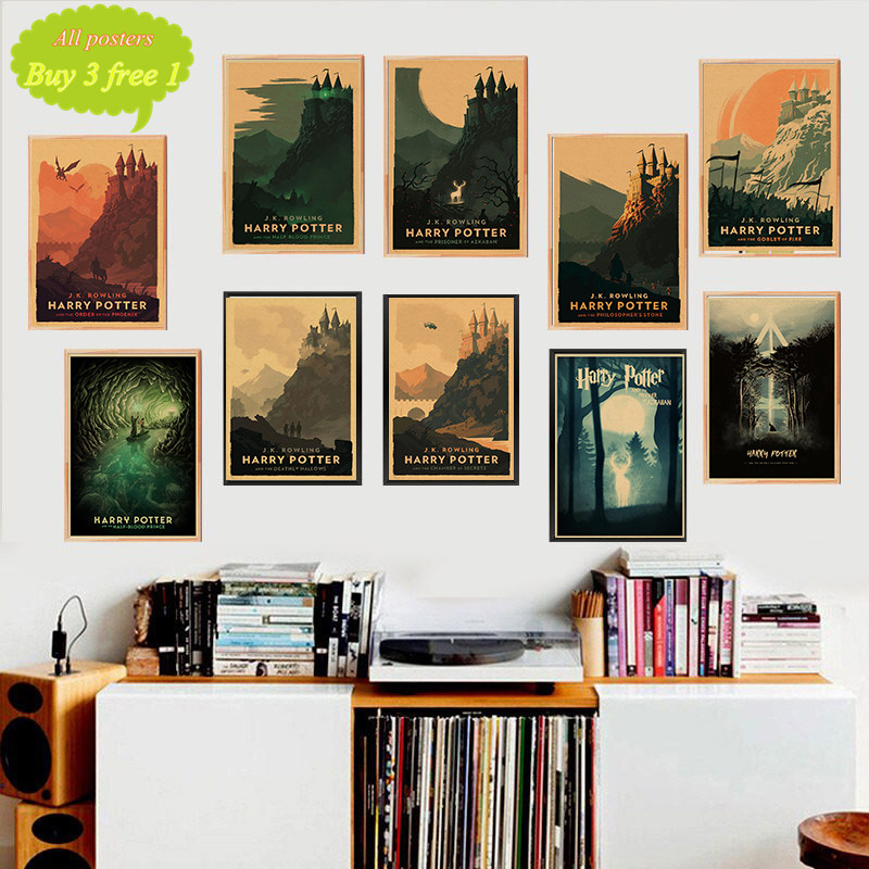 Harry James Potter Poster Hogwarts Express Diagon Alley Hogsmeade Kraft Paper Wall Art Painting Movie Posters Home Decor