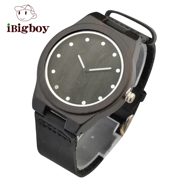 Ibigboy Lovers's Top Mens Bamboo Wooden Watch Quartz Real Leather Strap Classic Casual Men Watches in Gift Box